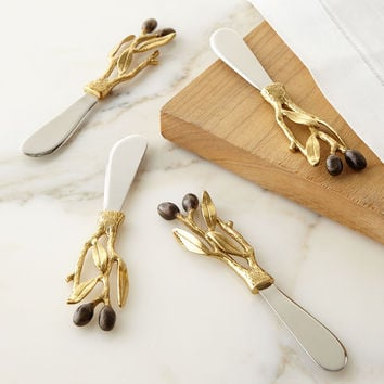 Olive Branch Gold Spreaders, Set of 4 - Michael Aram