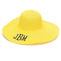 Monogrammed Yellow Floppy Hat