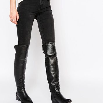 Faith Nash Black Leather Heeled Over The Knee Boots