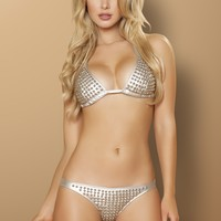 Silver Metal Ball Studs Bikini Set