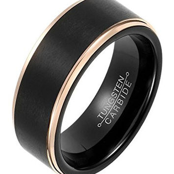 8mm Rings Flat Black Plated Rose Gold Plated Tungsten Carbide Wedding Band