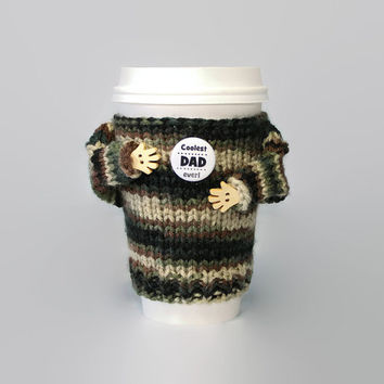 Army dad gift. Father's Day coffee cozy. Military cup sleeve. Travel mug. Coolest dad ever. Funny coffee. Camouflage sweater. Starbucks cup.