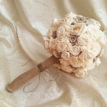 BIG cream brown rustic wedding BOUQUET Ivory and brown Flowers, sola roses, Burlap Handle, custom