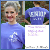 Monogrammed Personalized Comfort Colors Spirit Jersey Short Sleeved t Shirt Your choice of saying