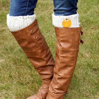 Pumpkin Boot Cuffs, Fall Boot Toppers- CREAM OR WHITE
