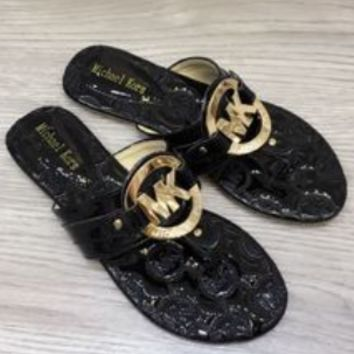 MK MICHAEL KORS Sweet Open Toe Metal Buckle Flat Sandals and slippers Sandals Shoes Black