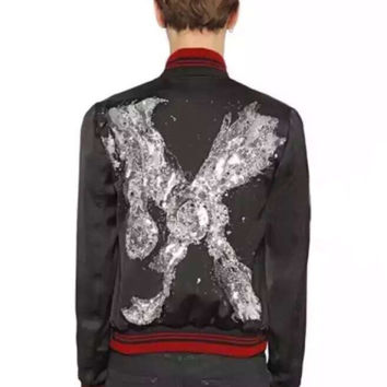 Indie Designs Saint laurent Inspired MR.X Embellished Viscose Satin Bomber Jacket