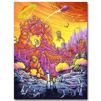 Rick and Morty Art Silk Fabric Poster Print 13x18 inch Cartoon Picture for Living Room Wall Decoration 001