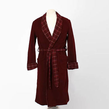 Vintage 40s MEN'S ROBE / 1940s -50s Burgundy Plaid Trim Belted Dressing Gown