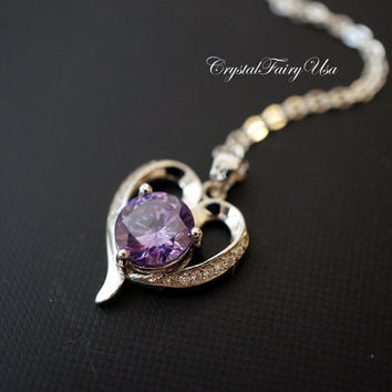Sterling Silver Amethyst Necklace - Genuine Swarovski Amethyst Heart Necklace - Heart Amethyst Diamond Necklace - High Quarty  Pendant
