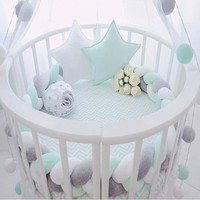 Minimalism Baby Bed Bumper Knot Design Newborn Crib Pad Protection Cot Bumpers Bedding Accessories for Infant Bed Bumper 1.5M/2M