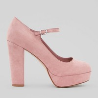 Wide Fit Pink Suedette Platform Heels | New Look