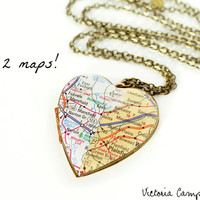 Two Cities Double Map Locket Necklace, Personalized Long Distance Relationship Jewelry, Large Vintage Heart Locket, Custom - Made to Order