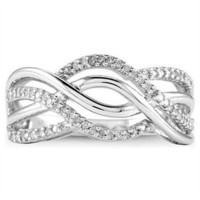 10k White Gold 0.25 Ct Round Diamond Crossover Ring