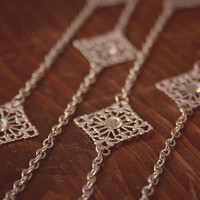 Handmade Long Silver Necklace with Filigree Links and Swarovski Crystals