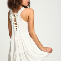WHITE LACE UP SLIP DRESS