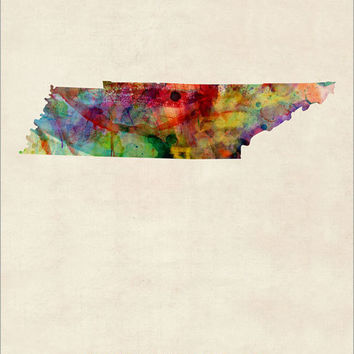 Tennessee Watercolor Map USA, Art Print (378)