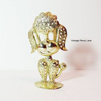 Vintage Earring Holder / Signed Torino Gold Metal Dog Earring Tree / Jewelry Display