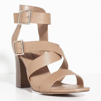 Strappy Chunky Heel Double Buckle Open Toe Sandal Natural