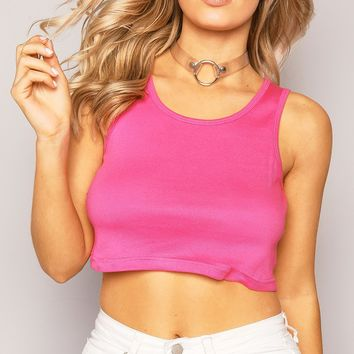 PINK RIBBED CROPPED VEST TOP