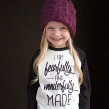 GIRLS BASEBALL RAGLAN - I AM FEARFULLY AND WONDERFULLY MADE