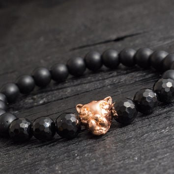 Matte black onyx beaded rose gold Leopard head stretchy bracelet with faceted onyx beads custom made yoga bracelet