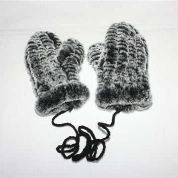 LIYAFUR Real Rex Rabbit Fur Knitted Winter Warm Gloves Mittens with Hanging String Fashion for Women Female Black Coffee