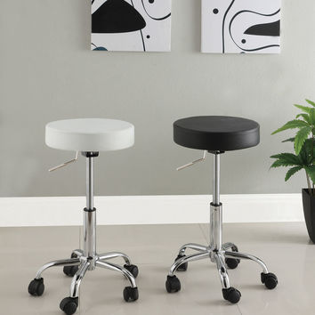 Ascon contemporary style black leather like vinyl adjustable swivel bar stool with casters
