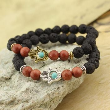 Hamsa Hand Lava Stone Yoga Energy Beaded Bracelet Antique Gold Silver