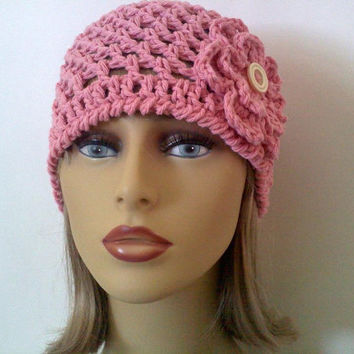 Pink Cotton Flower Hat, Womens Spring Crochet Beanie Hat