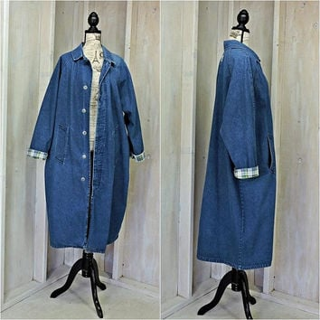 Denim duster coat / size L / XL oversized / Womens long duster coat / NAF NAF Paris / long jean jacket / full length / Boho / Grunge