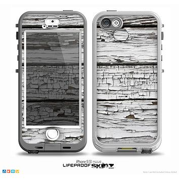 The White Wide Aged Wood Planks Skin for the iPhone 5-5s NUUD LifeProof Case
