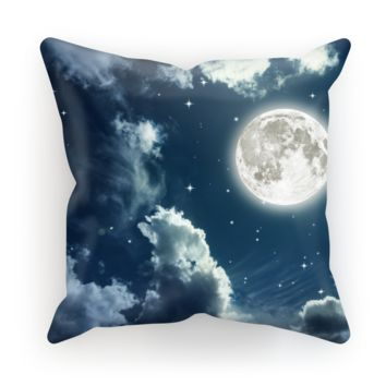 Cloudy Night Sky With a Full Moon Cushion