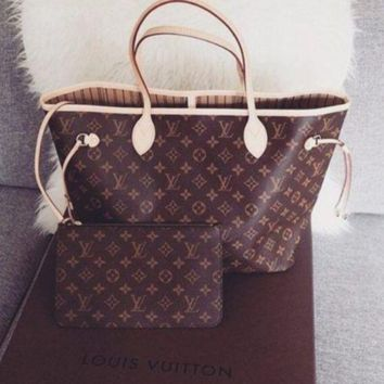 LV Women Shopping Leather Tote Handbag Shoulder Bag AND WALLET TWO PIECE