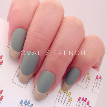 Oval, 12pcs, Shabby Chic French, Grace Green + Gold Hand Painted Fake Nail Tips / Press On / Stick On - Matte or Glossy