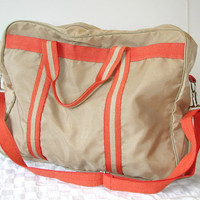 Orange & Tan Travel Bag - Vintage Athletic Bag / Duffel