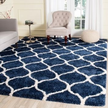 Safavieh Hudson Shag Modern Ogee Navy/ Ivory Rug (6' x 9') - Free Shipping Today - Overstock.com - 16766979 - Mobile