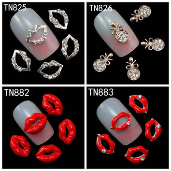 10Pcs Pack Rhinestones Nails Studs (Silver Lips Red Lips Necklave Pendant) 3D Nail Art Decorations Glitters Nail Tools