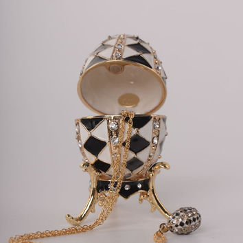 Black and White Faberge Egg with Gold Necklace Inside Handmade Trinket Box by Keren Kopal Decorated with Swarovski Crystals Gold Plated