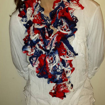 Custom Order For KAREN 2 Red White And Blue Ruffle Scarves!