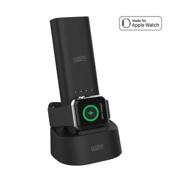 ICIK4S2 GLAWEE Apple Watch Charger 5000mAh Multi-function Power Bank with MFI Certificated and Night Stand for iWatch Series 3 2 1 Nike iPhone 8 7 6S Plus (Black)