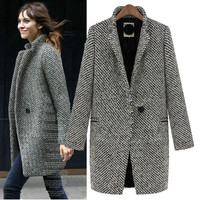 Gray Wool Knit Coat With Pocket