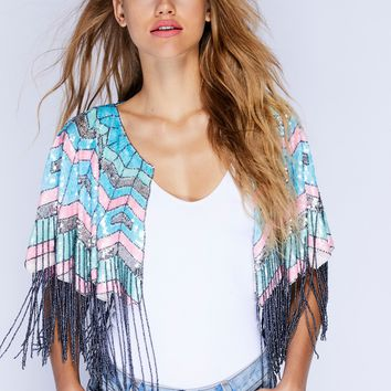 Free People Party All Night Sequin Cape