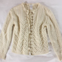 "~~~ THE INTRICACY! ~~~ CHLOE CREAM WOOL ""WAVY 3-D"" KNIT CARDIGAN/SWEATER ~~~ M"