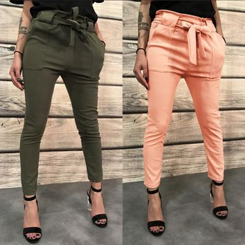 Straps Belt Women Mid Waist Solid Color Skinny Long Pants