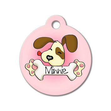 Pink Cute Puppy Licking Bone - Cute Pet Tag