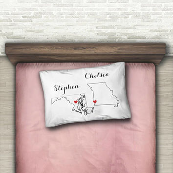 Two States Love Custom Pillow Case, Standard Pillow Case, Dorm Decor, Dorm Room Decor, Personalized Black + White Decor, Graduation Git