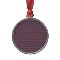 Chevron Violet Bellflower And Coffee Brown Christmas Ornaments from Zazzle.com