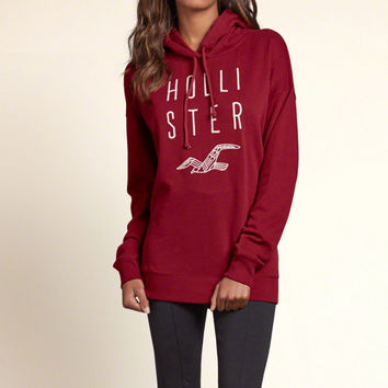 Embroidered Logo Graphic Boyfriend Hoodie