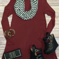 Head in the Clouds Tunic Dress: Burgundy